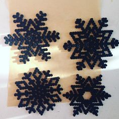 Snowflakes hama beads by 1001black_dresses
