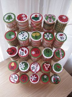 wooden spool christmas countdown by queenvanna creations, via Flickr
