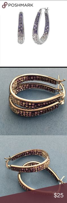 """NWT Swarovski Crystals/White Gold plated Earrings NWT Yeidid Purple Swarovski Crystals & Rhodium plated Hoop Earrings. ~1 1/2"""". Elegant with a bit of color, dresses up any ensemble! Jewelry Earrings"""