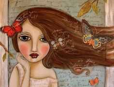 Girl and Butterfly Art