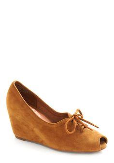 Cinnamon Shoe-gar 1940s Style Wedge Shoes  $119.99  Store: ModCloth.com