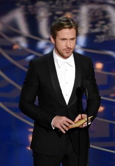 To the 88th Academy Awards, presenter Ryan Gosling wore a Gucci black shawl lapel one button Signoria tuxedo with a white evening shirt and white silk bowtie.