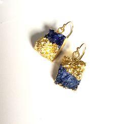 Genuine druzy earrings/ Statament earrings/ Contemporary earrings/ Square earrings/ Gold brushed effect earrings/ Genuine gemstone earrings by TheBarnsburyStudio on Etsy https://www.etsy.com/listing/475682066/genuine-druzy-earrings-statament