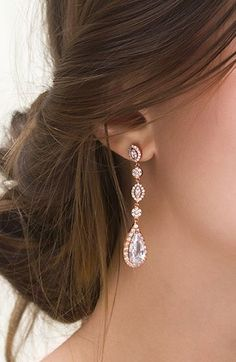 PRODUCT DETAILS - Cubic Zirconia Crystals - 18K Rose Gold Finish - Hypoallergenic, Lead & nickel free - H 2 1/8 in. x W 7/16 in. ITEM #E146-RG