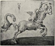 Jacopo de' Barbari.  Kentaur, verfolgt von einem Drachen. Um 1480-1514, Kupferstich, 109 x 130 mm. London, The British Museum, Department of Prints and Drawings. Italien. Renaissance.