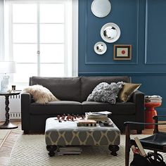 my couch, now I need someone to design my living room My Living Room, Home And Living, Living Room Decor, Living Area, Blue Wall Colors, House Colors, Paint Colors, Black Couches, Dark Couch