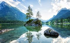 Alps, mountains, Ramsauer Ache, Lake Hintersee, Ramsau, Bavaria, Germany
