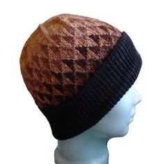 12157a9a03e Knit Hat Large Coffee Brown Beige Beanie Gradient Triangle Design