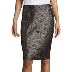 St. John Sequin Knit Pencil Skirt ($495) ❤ liked on Polyvore featuring skirts, caviar multi, long pencil skirt, st. john, knee length pencil skirt, long sequin skirt and pencil skirts