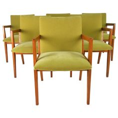 Set of Mid-Century Modern Frank Lloyd Wright Inspired Dining Chairs   From a unique collection of antique and modern dining room chairs at https://www.1stdibs.com/furniture/seating/dining-room-chairs/