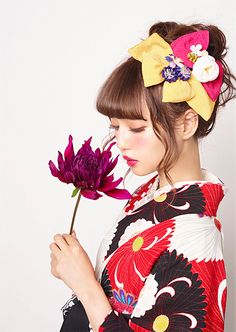 Japanese Hakama kimono. by KYOYA.  Model / Risa Nakamura Japanese Streets, Japanese Street Fashion, Asian Fashion, Human Photography, Hair Arrange, Japanese Outfits, Yukata, Japanese Kimono, Japanese Culture