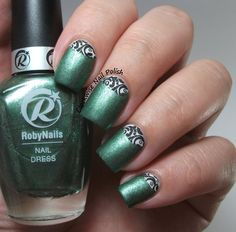 The Clockwise Nail Polish: Roby Nails Green Diamond Review & Half Moon Nail Art