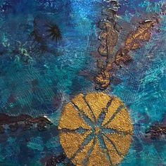 """Sea Urchin Medley"" by Sue Clover. Sea Urchin, Alaska, Mixed Media, Paintings, Detail, Cards, Handmade, Hand Made, Paint"