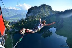 Bungy Jumping | AlpinRaft #Interlaken #Outdoor #Fun #Adventure #Switzerland #Alps #Suiza  #wow #Stockhorn #Mountains Stockhom bungy located in the Swiss Alps is one of the most breathtaking and unusual bungy sites in the world. You are lifted 134m up in a mountain gondola, the doors open and you take the plunge; leaping and freefalling towards the pristine mountain lake Stockensee. Enjoy the rush of a lifetime and remember to smile for the camera!