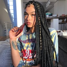 "Braids By : Creativexhands Always a African/black women darling, BOX BRAIDS, our ""goto "" hairstyle anytime any day, when every other hair trend comes on go box braids stick to ours like…"