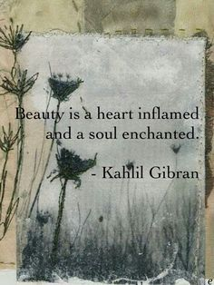 ❤Beauty is a heart inflamed and a soul enchanted. - Kahlil Gibran💕❤💘😊❤⚘REGINA C💋💋😚💖 Sufi Quotes, Poetry Quotes, Words Quotes, Love Quotes, Quotes To Live By, Inspirational Quotes, Sayings, Motivational, Kahlil Gibran