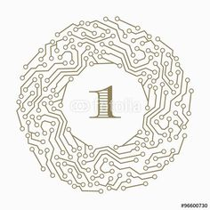 Digital circuit decorative art frames for design template. Number one legant modern element for design, place for text. Golden electronic  border.illustration for invitations and greeting cards