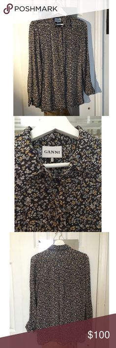 Ganni flower crepe shirt Long crepe shirt with flower print from Ganni, never used. 100% viscose Ganni Tops Blouses