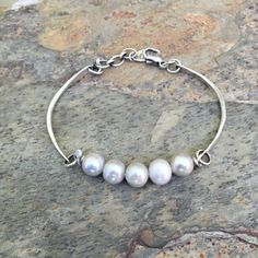 Sterling Silver and Pearl Bracelet. Handmade Jewelry for Charity. BS1