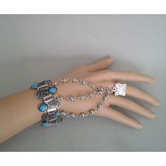 etno náramok s prsteňom Tyrkys nastaviteľný