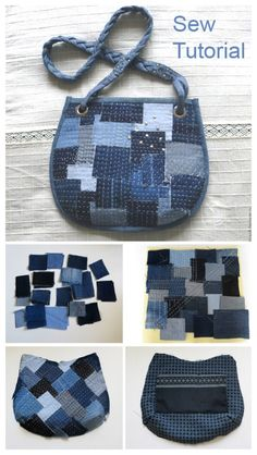 Upcycled Demin Jean Bag DIY Tutorials: Demin jean bags, tote, shoulder bags, messager bags, ways to turn old jeans into bags 20 Upcycled Demin Jean Bag - DIY Boro Denim Bag Tutorial Denim Bag Tutorial, Diy Bags Tutorial, Bag Sewing, Denim Tote Bags, Denim Crafts, Recycled Denim, Sewing Hacks, Sewing Projects, Sewing Tutorials