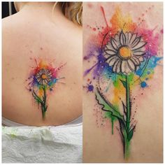 Phewww a long day, but a really fun one, really enjoying this convention!  first one from this morning, thanks Sheri!! #watercolourtattoo #watercolor #watercolour #daisy #daisytattoo #spinetattoo