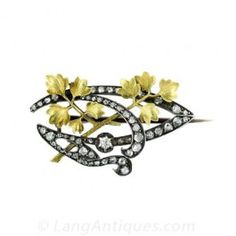 French Art Nouveau Diamond Brooch - Art Nouveau Jewelry - Vintage Jewelry