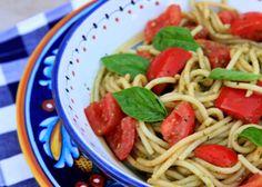 spaghetti with pesto & tomato salad