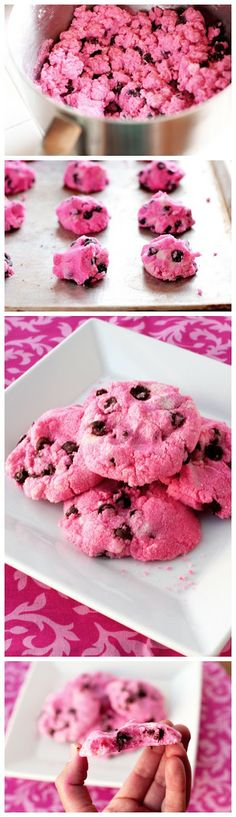 Pink Chocolate Chip Shortbread Cookies