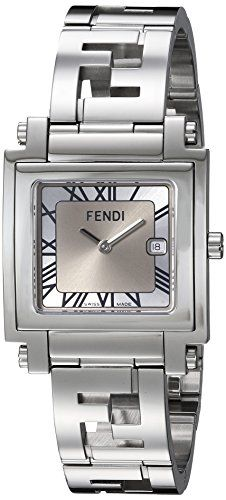 The Latest Reviews on Top Luxury Watch Brands | Square watch featuring two-tone silver sunray dial with Roman numeral indices, date window, and Fendi logo at center 30 mm stainless steel case with anti-reflective sapphire dial window Swiss quartz movement with analog display