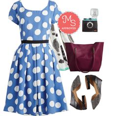 In this outfit: Classically Sassy Dress, Keepsake on the Sunny Side Scarf, Diana F+ Instant Camera in Nightfall, Tote of Confidence Bag, Step Perception Wedge #polkadots #vintage #fashion #outfits #retro #spring #ModCloth #ModStylist
