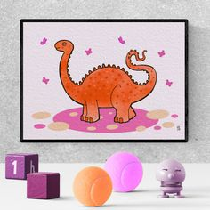 diplodocus, orange dinosaur, art, drawing, nursery, cute, printable, baby room, nursery wall art, toddler room, illustration #orangedinosaur #diplodocus