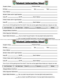 This is the form I have parents fill out at the beginning of the year. I hole punch these cards and hang them on a binder ring by my door so that I have quick access to all emergency numbers, student information and contact numbers. There are 2 forms per Progress Report Template, Report Card Template, Id Card Template, Student Information Form, Family Information, School Report Card, Student Login, Parent Contact, Daycare Forms