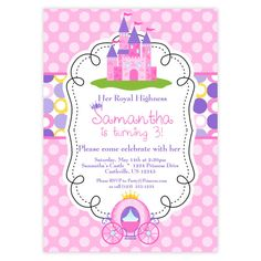 Princess Invitation  Pink and Purple Polka Dots by PurpleBerryInk, $15.00