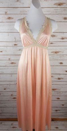 Vintage Olga Secret Hug Long Nightgown S Silky Nylon Lace Peach Cream Soft  9632 0da8a555d