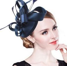 Navy Blue Fascinator Womens Tea Party Hat Church by QueenSugarBee