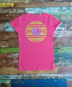 Monogram t shirt, Personalized gifts, Monogram T-shirts, Aztec Monogrammed t shirts, Monogram tee shirt by PoshPrincessBows1 on Etsy