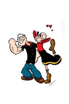 Popeye and Olive Oil #tattoo