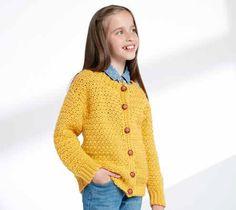 Exclusive Image of Girls Crochet Cardigan Pattern Girls Crochet Cardigan Pattern Childs Crochet Crew Neck Cardigan Patterns Yarnspirations Sz 2 Crochet Girls, Crochet For Kids, Crochet Baby, Knit Crochet, Ravelry Crochet, Free Crochet, Irish Crochet, Crochet Children, Crochet Tops
