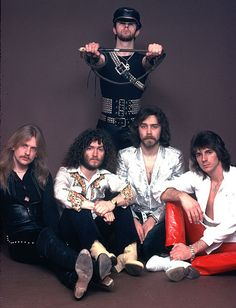 judas priest... Love the old pics.... Hell Bent For Leather.. When Halford CHANGED The whole metal landscape by wearing the leather.... Kiss Started with the black and silver outfits back in 1972, but Priest took it to the True Metal look...