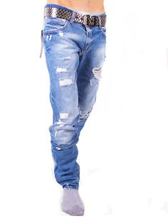Dolce & Gabbana Ripped Jeans For Men - Light Blue - Collection