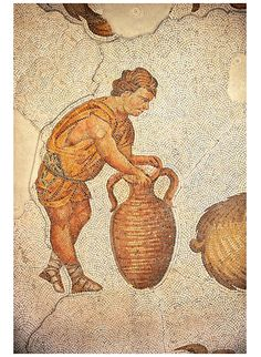 6th century Byzantine Roman mosaics of a man with an amphora from the peristyle of the Great Palace from the reign of Emperor Justinian I. Istanbul, Turkey.  | © Paul Randall Williams 2012