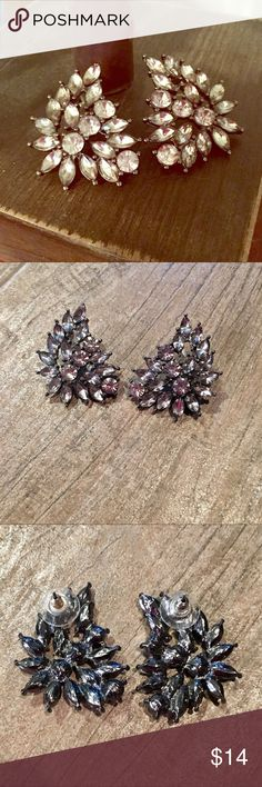 Nordstrom Rack Rhinestone Earrings Stunning wing shaped rhinestone earrings purchased from Nordstrom Rack {not sure of brand}. Worn once, excellent condition. Sure to make a statement! The metal is on the darker side, as shown on 3rd pic of the back of earrings. Jewelry Earrings