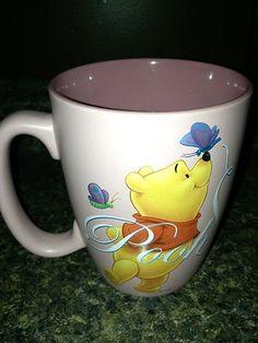 Disney Store Winnie The Pooh Pooh Butterfly Pink Ceramic Coffee Mug