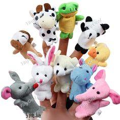 10pcs Cartoon Animal Plush Finger Puppets Finger Toys Finger Dolls Animal Dolls for Children Kids - Color Assorted FTY-146381