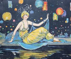 A Woman of the Night - Antique Candy Box - Flapper Girl - Yellow - Sky - Blue - Orange - Vintage Home Decor