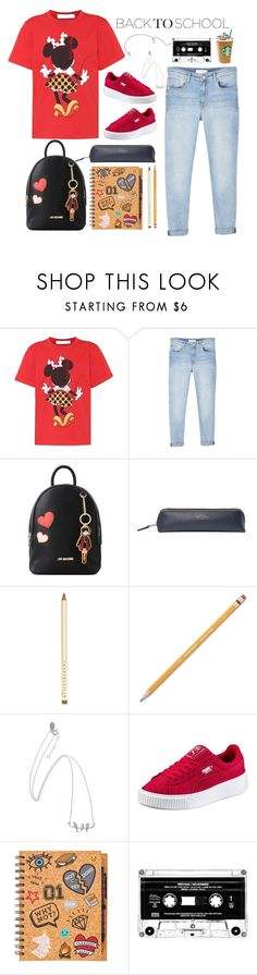 """""""Back To School"""" by j4wahir ❤ liked on Polyvore featuring Victoria Beckham, MANGO, Love Moschino, Smythson, Chantecaille and Paper Mate"""