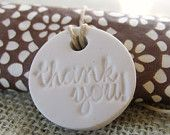 wedding favor clay stamped  LOVE tags - 20 wedding favo r/ napkin ring / valentines gift tags. $20.00, via Etsy.