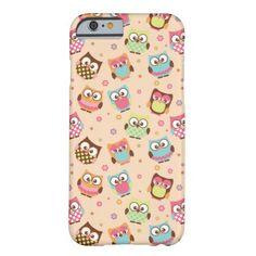 Cute Colorful Owls iPhone 6 case (pale apricot)