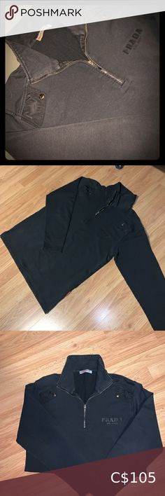 Prada Half Zip Black Prada half zip in size medium. 99.99% sure it's authentic. There are too many details for it not to be. A little faded but it 8/10 condition. Three prada tags on it. Definitely a rare piece. It is too big on me though as i'm an xs. Would be cute oversized tho. No rips, tears or stains. Prada Sweaters Prada, Sweaters For Women, Black Jeans, Stains, Zip, Medium, Best Deals, Cute, Closet